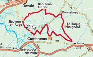 Carte itineraire route du cidre pays dauge